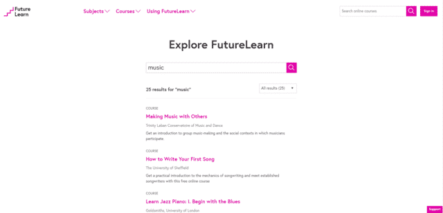 FutureLearn Learn Music Lessons Online
