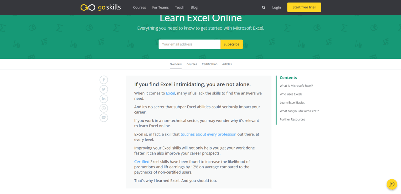 Goskills learn MS Excel Lessons Online