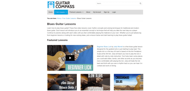 GuitarCompass Learn Blues Guitar Lessons Online