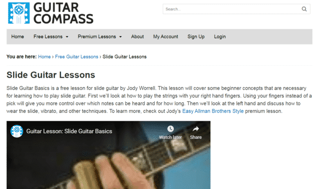 Guitarcompass Learn Slide Guitar Lessons Online