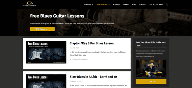 LearningGuitarNow Learn Blues Guitar Lessons Online