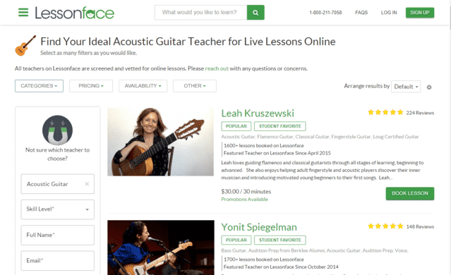 LessonFace Learn Acoustic Guitar Lessons Online