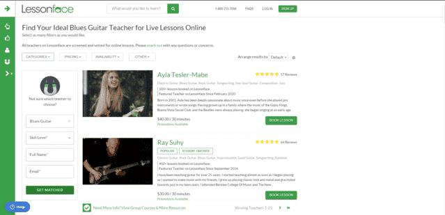 LessonFace Learn Blues Guitar Lessons Online