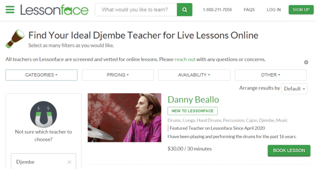 Lessonface Learn Djembe Lessons Online