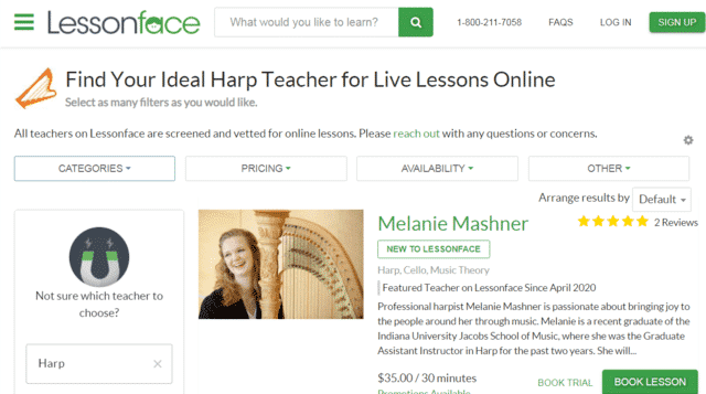 Lessonface Learn Harp Lessons Online