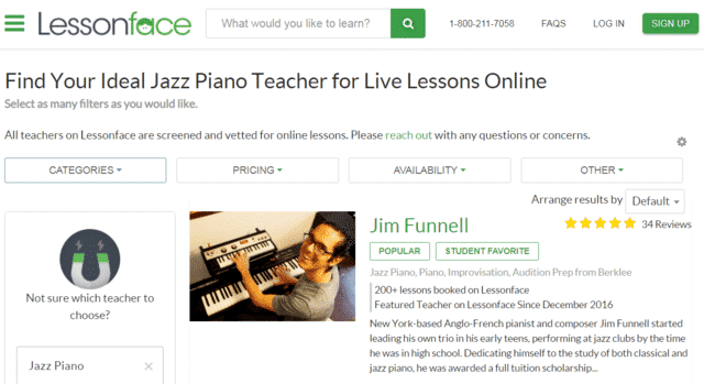 Lessonface Learn Jazz Piano Lessons Online