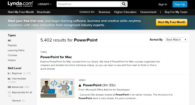 Lynda Learn PowerPoint PPT Lessons Online