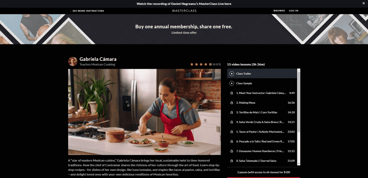 MasterClass Learn Mexican Cooking Lessons Online