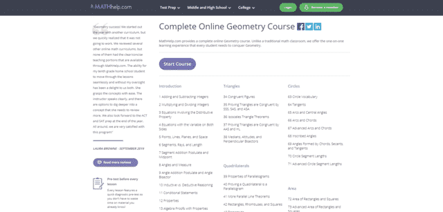 Mathhelp Learn Geometry Lessons Online