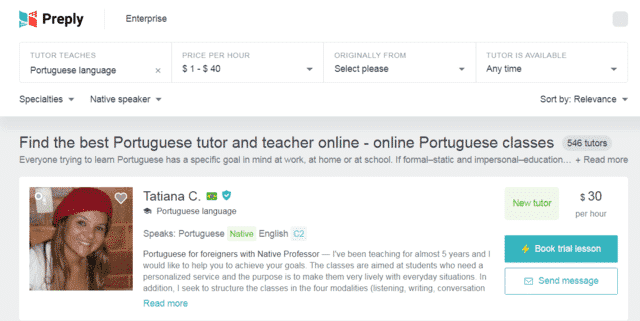 Preply Learn Portuguese Lessons Online