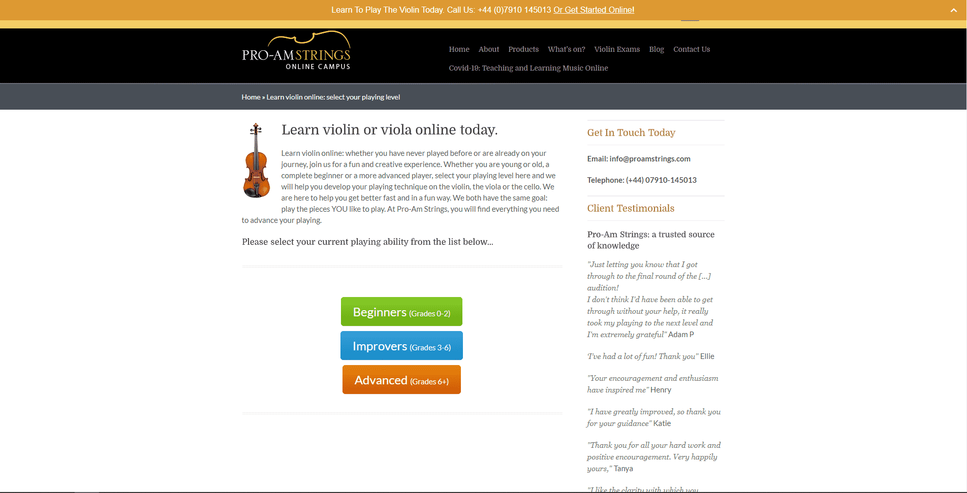 proamstrings Learn violin lessson for Intermediate