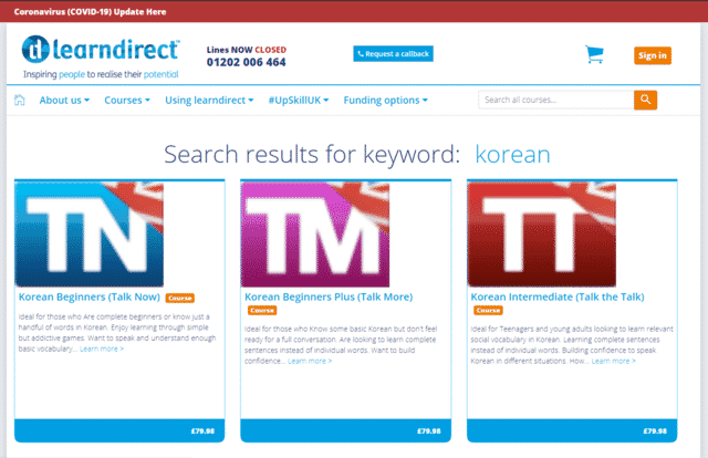 learndirect learn korean lessons online