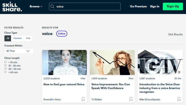 Skillshare Learn Voice Lessons Online
