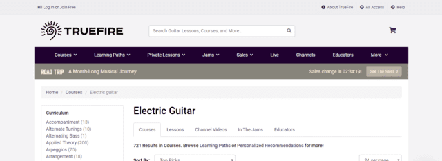 Truefire learn Electric Guitar Lessons Online