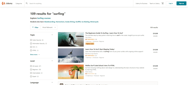 udemy learn Surfing lessons online