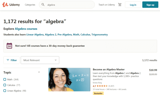 Udemy Learn Algebra Lessons Online