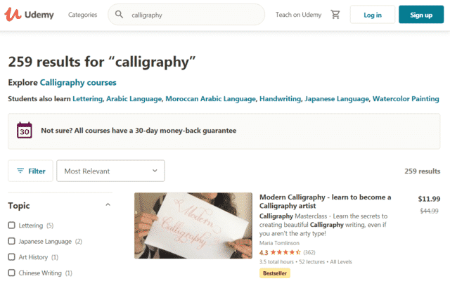 Udemy Learn Calligraphy Lessons Online