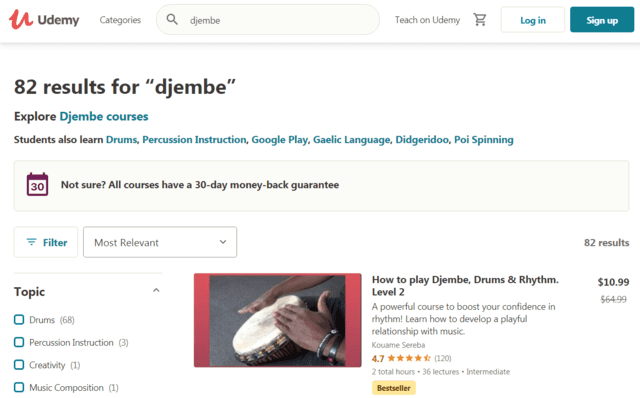 Udemy Learn Djembe Lessons Online