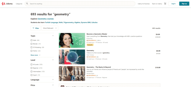 Udemy Learn Geometry Lessons Online
