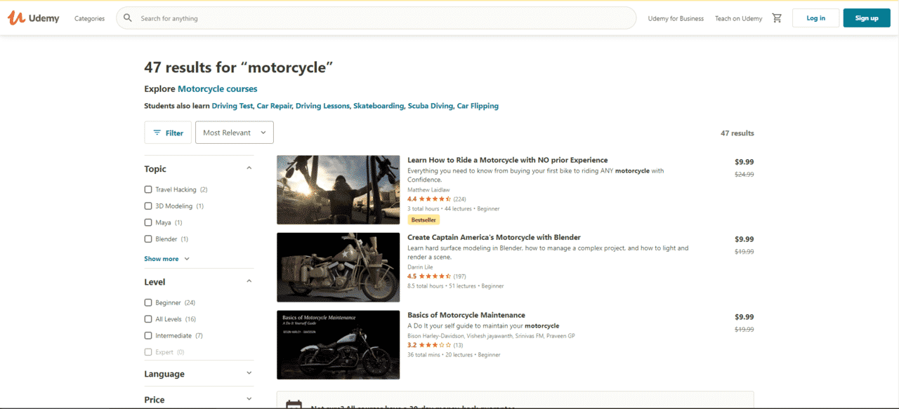 Udemy Learn Motorcycle Lessons Online
