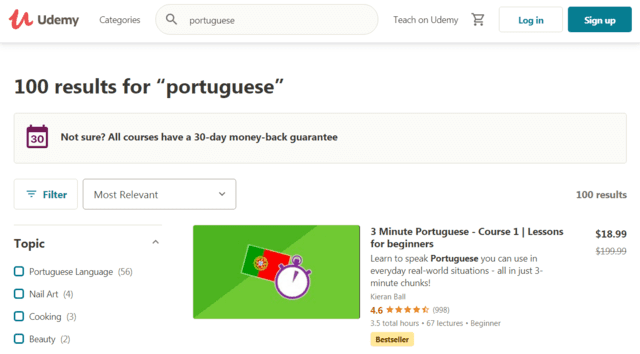 Udemy Learn Portuguese Lessons Online
