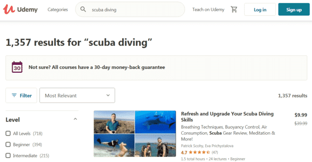 Udemy Learn Scuba Diving Lessons Online