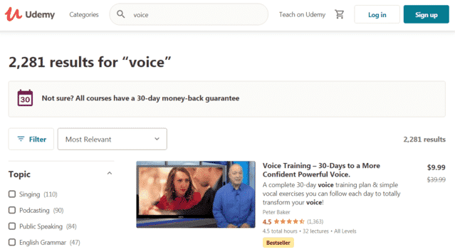 Udemy Learn Voice Lessons Online