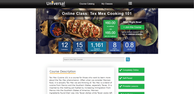 UniversalClass Learn Mexican Cooking Lessons Online