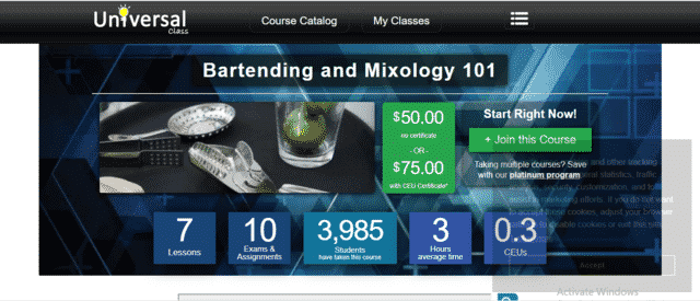 UniversalClass Learn Mixology Lessons Online