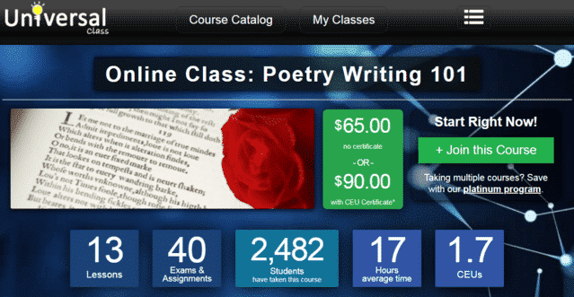 Universalclass Learn Poems Lessons Online