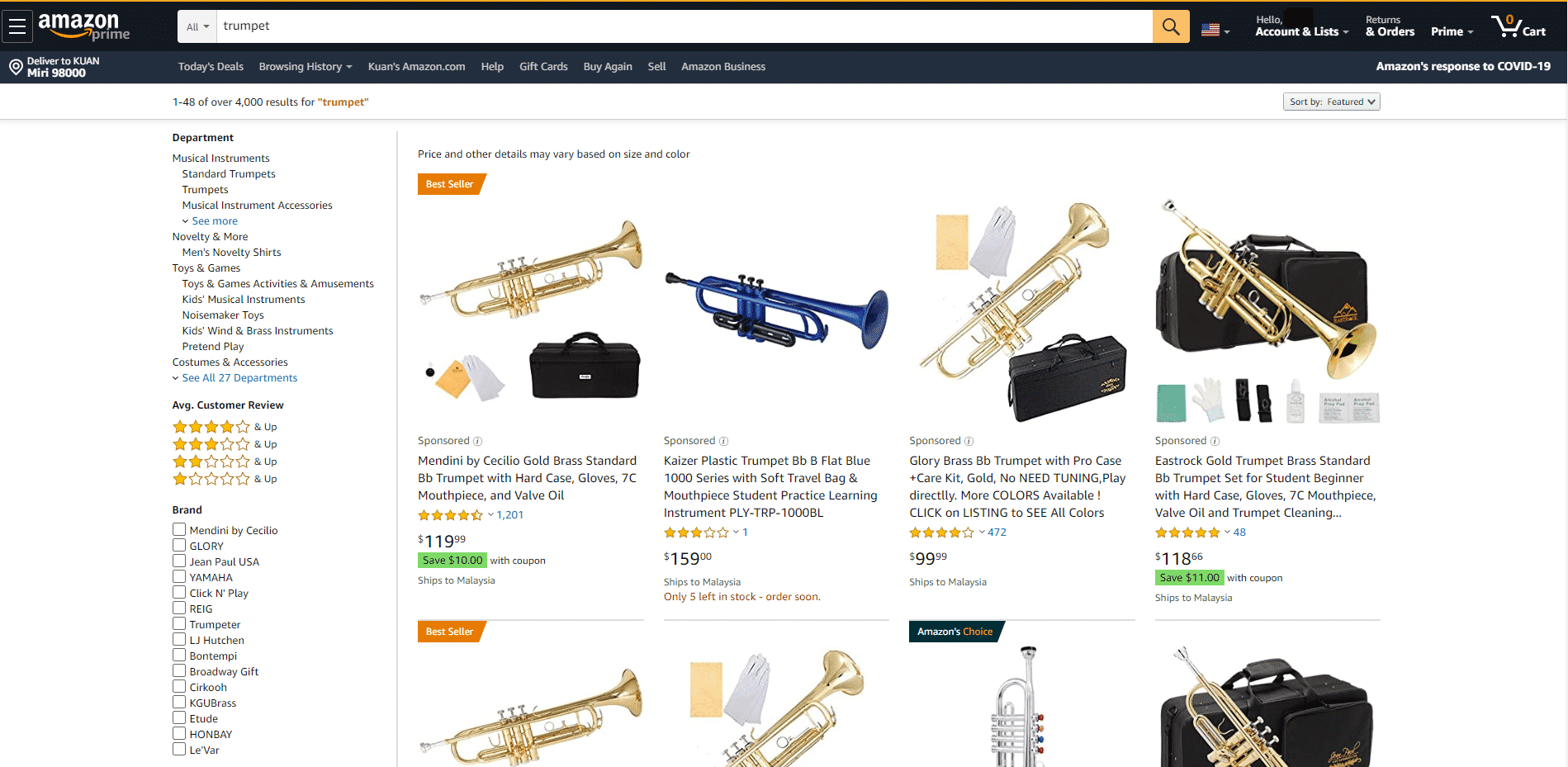 Amazon buy Trumpets online