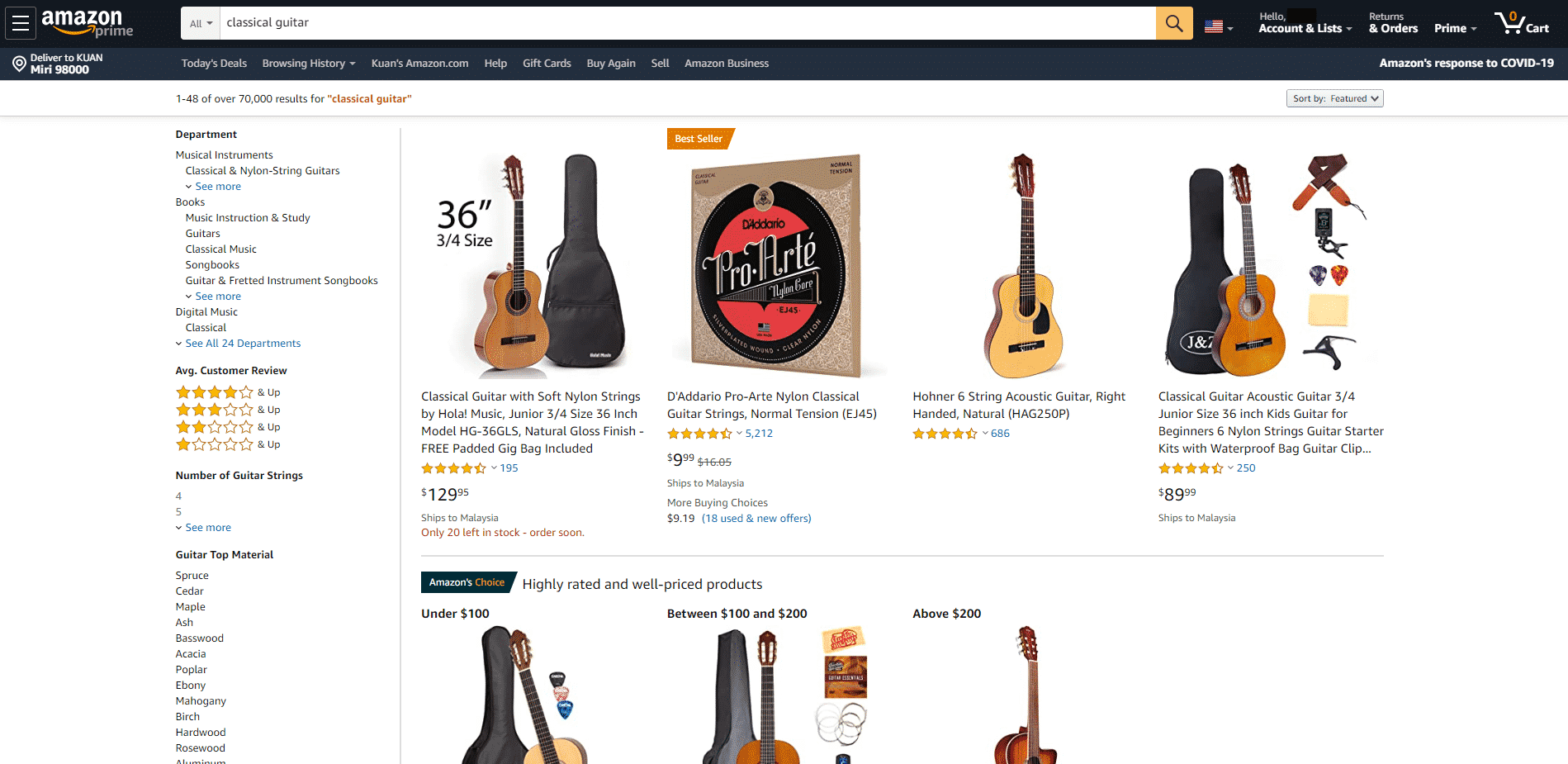 Amazon buy classical guitars online