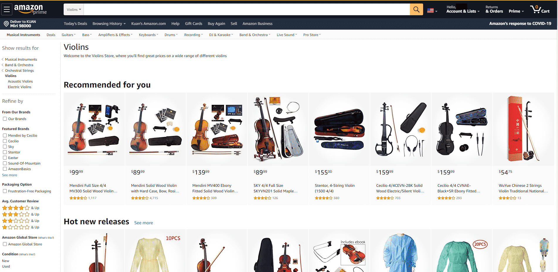 Amazon buy violin online
