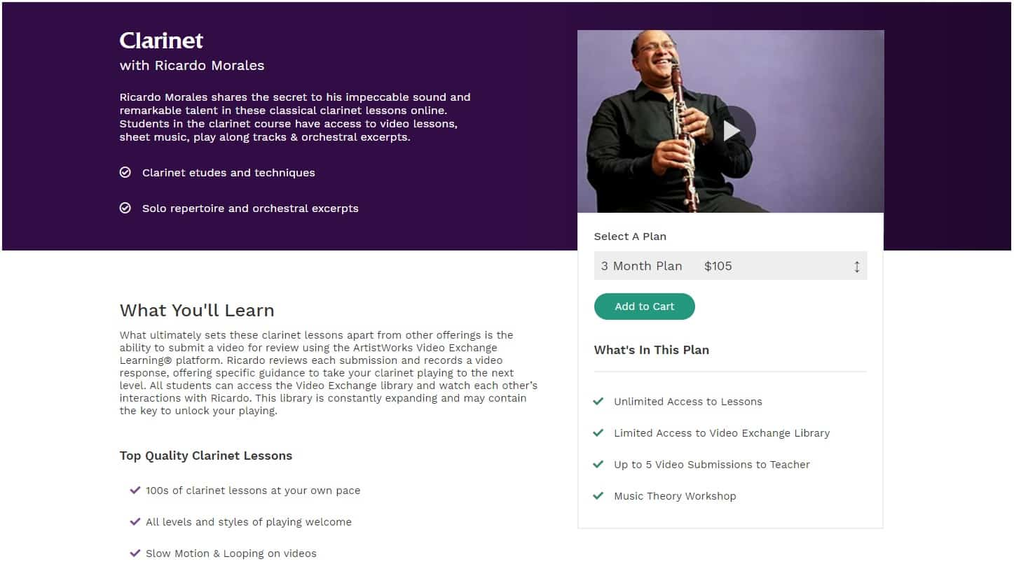 Artiskworks Clarinet Lessons for Intermediate Online