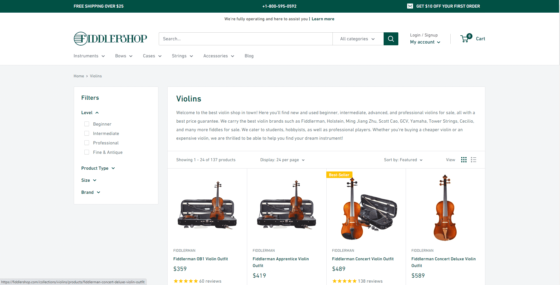 Fiddler shop buy violin online