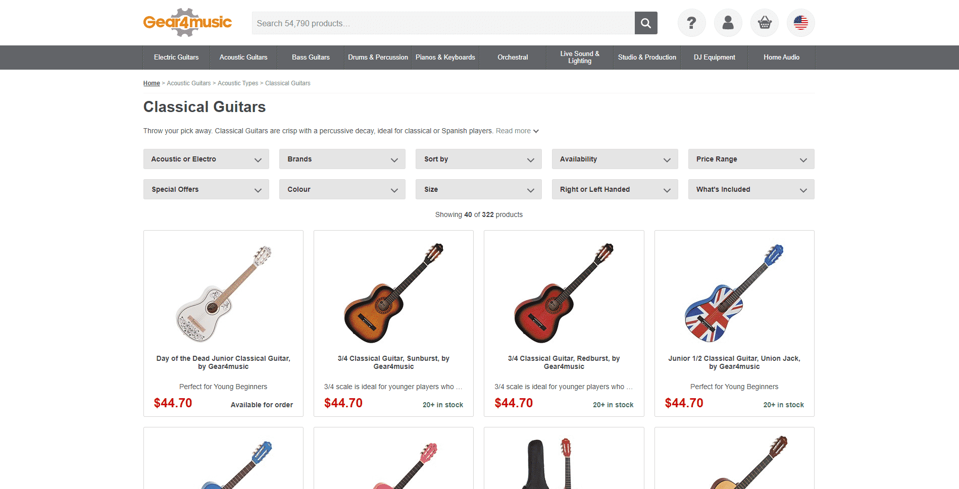 Gear for music buy classical guitars online