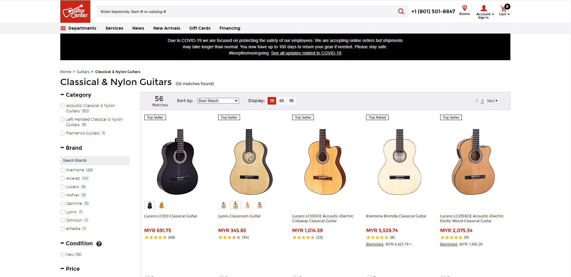 Guitar Center buy classical guitars online