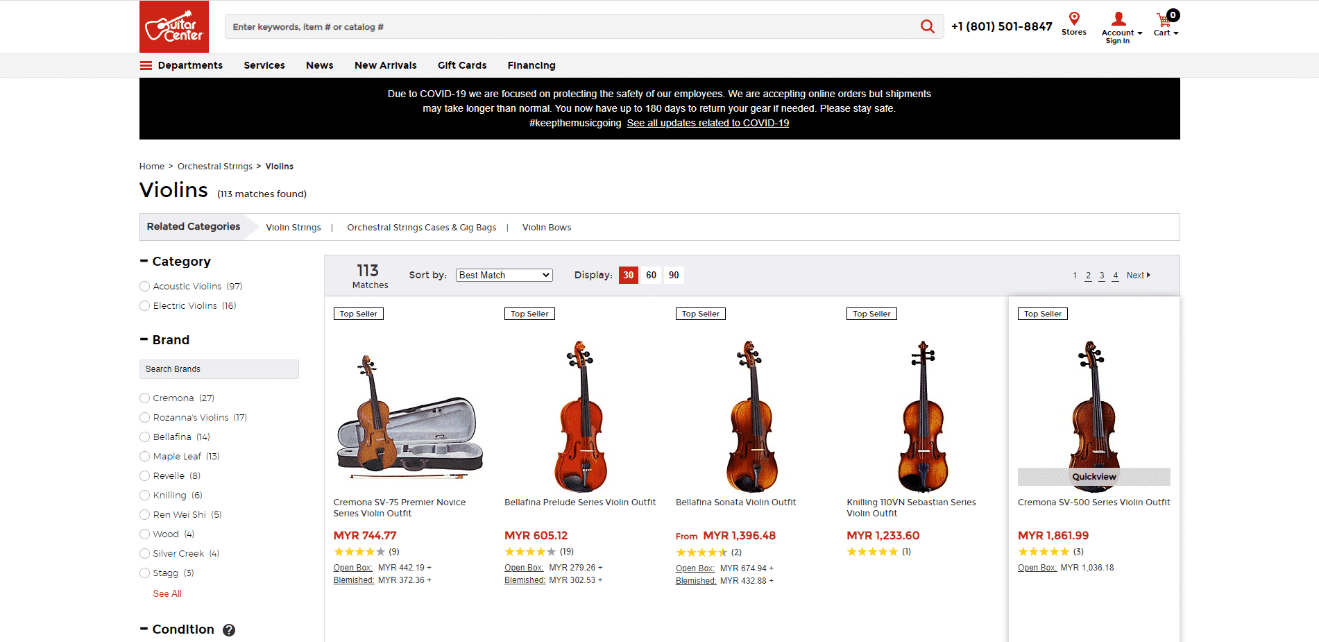 Guitar center buy violin online