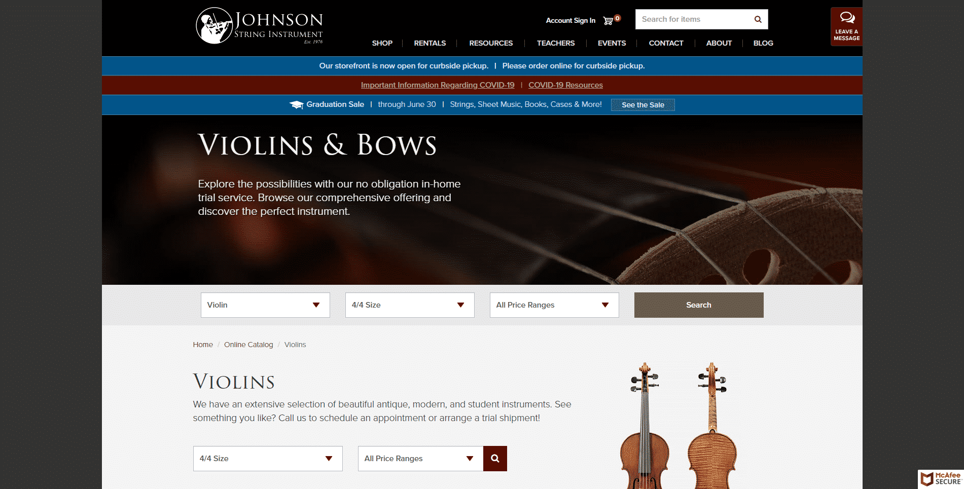 Johns on string violins buy violin online