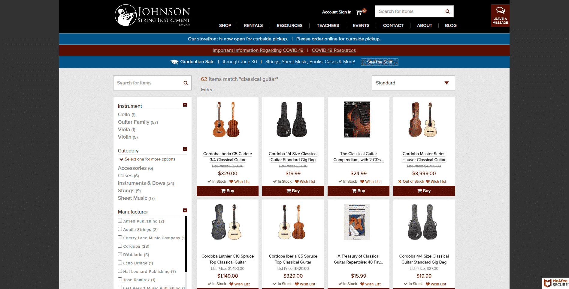Johnson string instrument buy classical guitars online