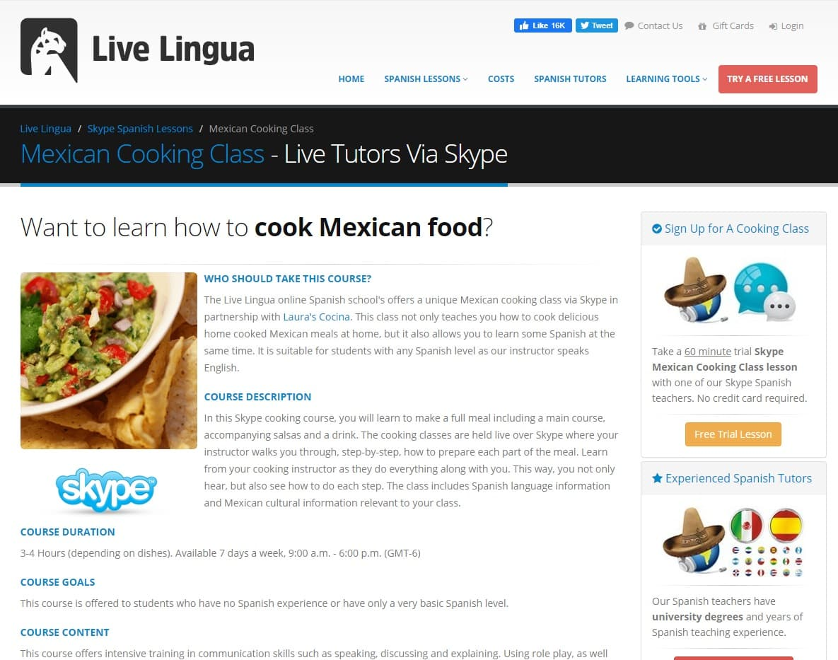 LiveLingua Learn Mexican Cooking Lessons Online