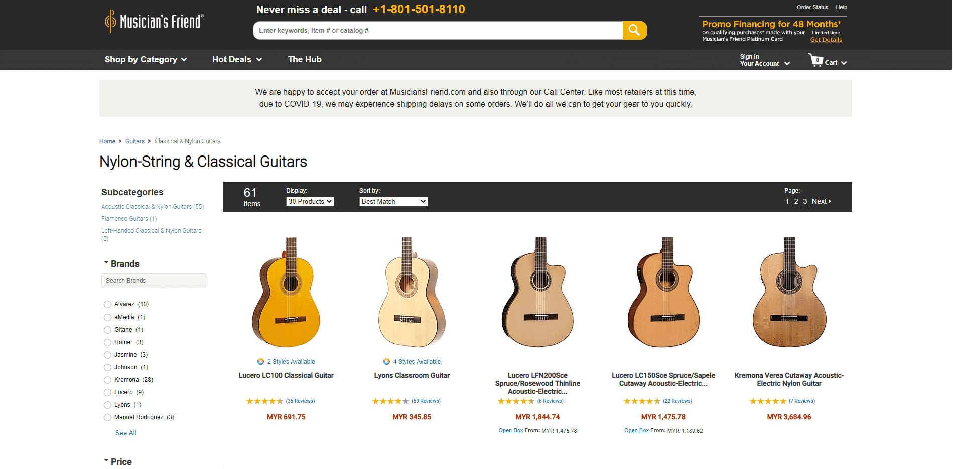 Musicians Friend 1 buy classical guitars online