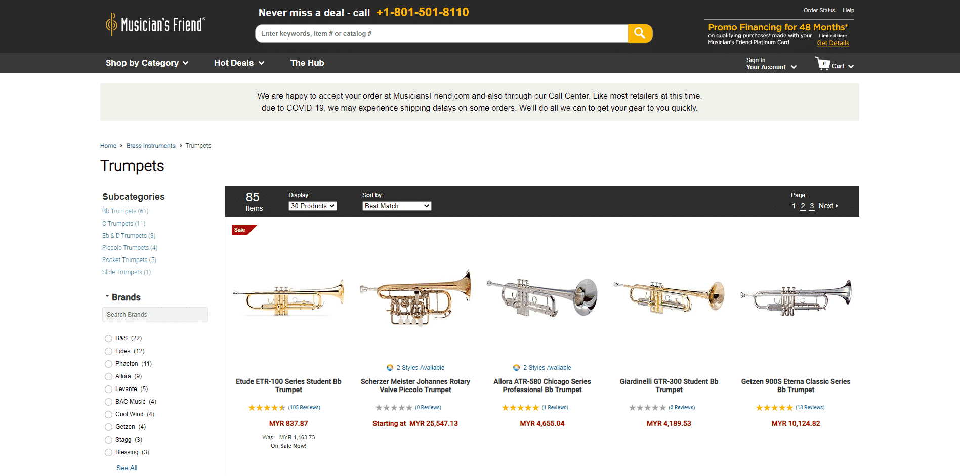 Musicians Friend buy Trumpets online