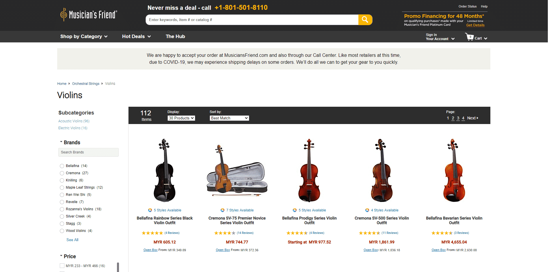Musicians friend buy violin online