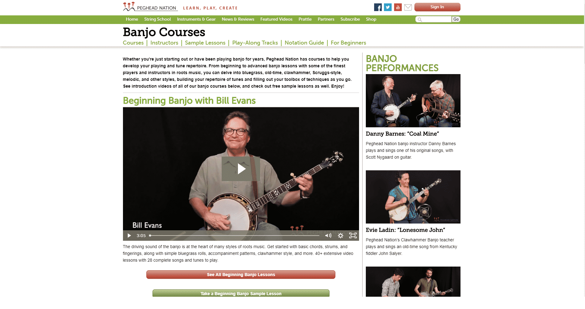 Peghead Nation Banjo Lessons for Intermediate Online
