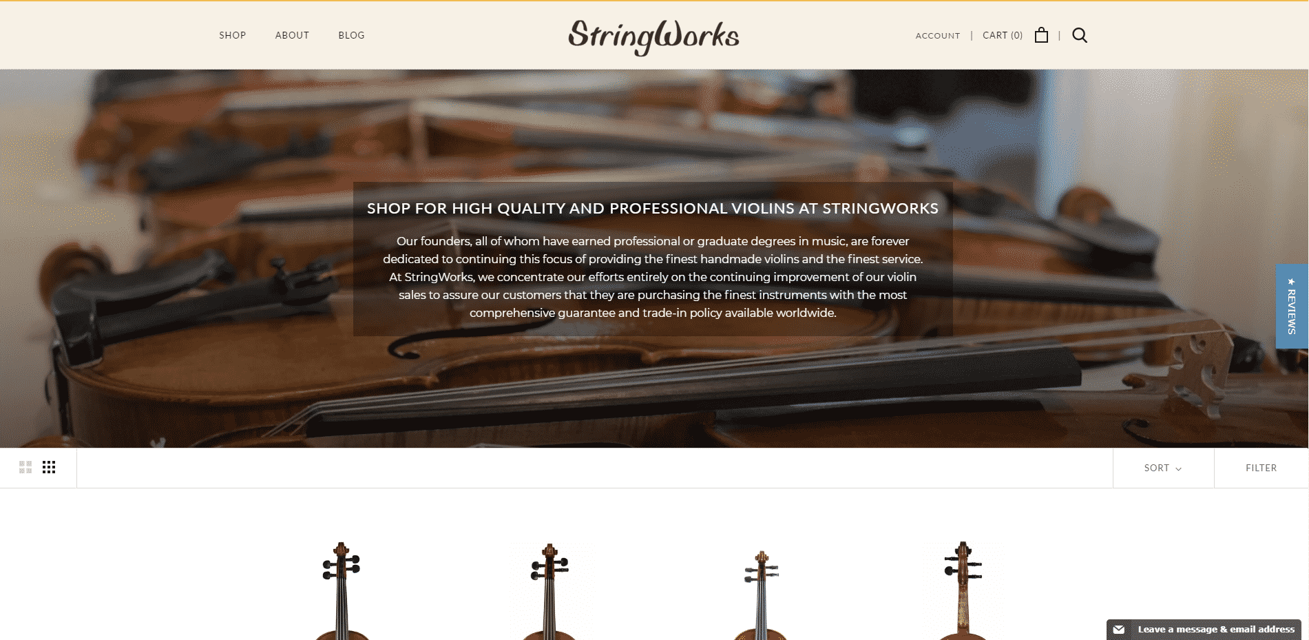 String works violins buy violin online