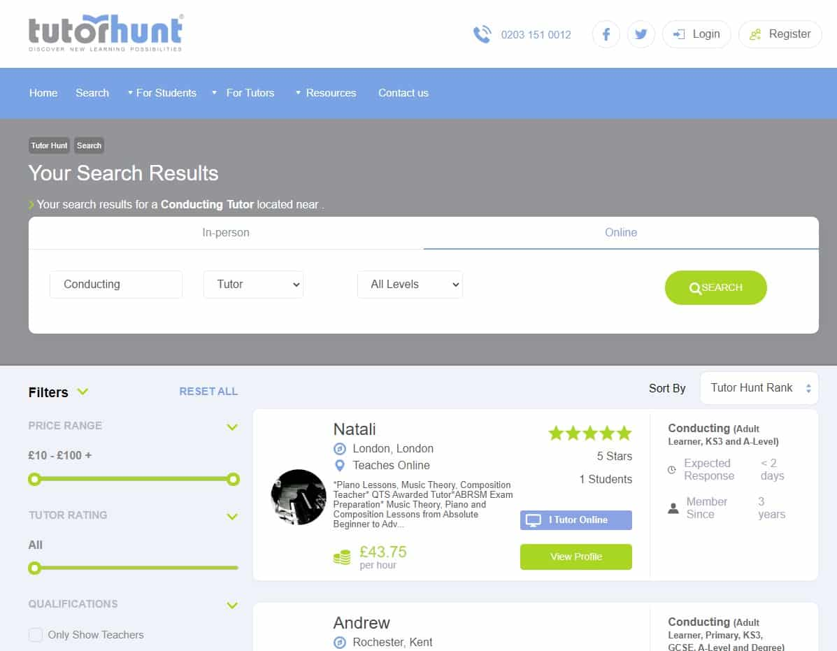 Tutorhunt Learn Music Conducting Lessons Online
