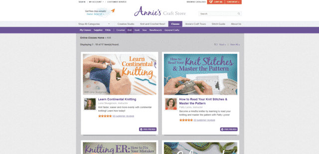anniescatalog learn knitting lessons online