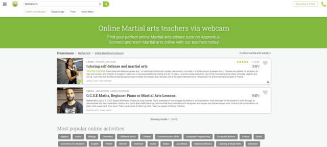 apprentus learn martial arts lessons online