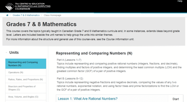 CEMC Learn 7th Grade Math Lessons Online
